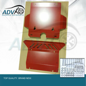 Bash-Plate-Sump-Guard-3mm-for-Toyota-Hilux-2005-2015-2pc-RED-Powder-Coated