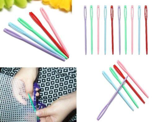 Hilado de plástico agujas de tejer de lana 7cm Tapicería Aguja de coser niños de ganchillo
