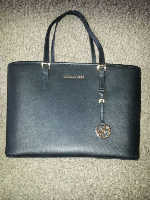 cd0a23428e22 MICHAEL KORS-Jet Set Travel TZ BLACK Saffiano Leather-TOTE-Authentic-NEW