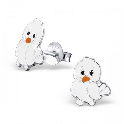 Childrens Girls Sterling Silver White Chick Ear Studs Earrings