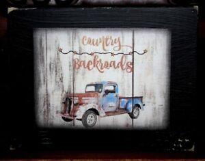 Country-Backroads-Truck-Primitive-Rustic-Wooden-Sign-Block-Shelf-Sitter-3-5X4-5