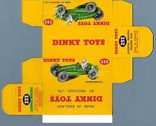 DINKY TOYS 233 : COOPER BRISTOL RACING box repro boite reprobox refabrication