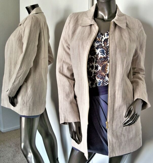0eac2037b2 NWT-LAUNDRY BY SHELLI SEGAL BEIGE LINEN COTTON ZIP-UP SPRING JACKET SZ-