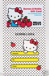 BARNES & NOBLE COLLECTIBLE GIFT CARD HELLO KITTY PRIMARY COLORS W/ENVELOPE