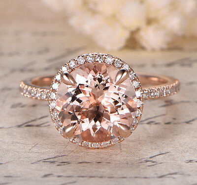 14K Rose Gold 9mm Round Cut Morganite Wedding Anniversary Diamonds Ring 4 Prongs