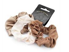3 x Brown Cream Satin Hair Scrunchie Bobble Hair Bands Hair Accessories UK