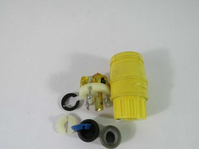 HUBBELL WIRING DEVICE-KELLEMS HBL24W47A 15A Watertight Locking Plug 2P 3W