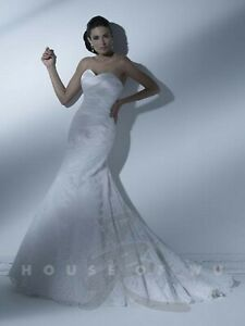 NWT-Size-12-White-lace-and-satin-fit-n-flair-long-formal-bridal-gown-HOUSE-OF-WU