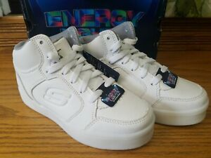 Youth Boys Skechers Energy Lights high top light up White Size 2 rechargeable
