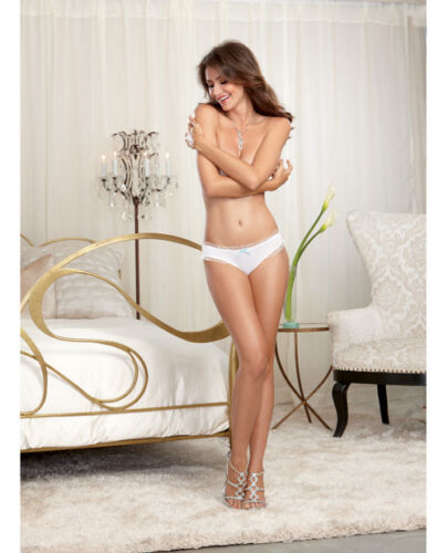 BRIDE MICROFIBER CHEEKY PANTY WITH RHINESTONE BRIDE BACK WHITE S-4X BY DREAMGIRL