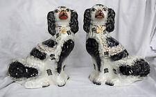 COPPIA di Staffordshire Pottery Wally Dogs 19thC Mantello Cani/Spaniels/Flatback