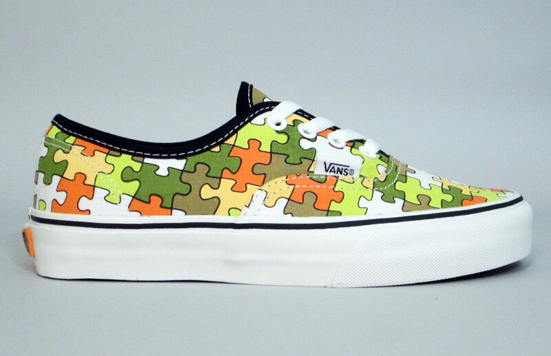 Vans Classic Authentic Puzzle Lime Yellow Women's Sizes NIB New In Box