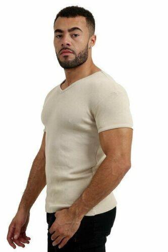 Mens Rib T-Shirt Ribbed V Neck Plain Slim Fit Jersey Ribbbed T-Shirt Sliver