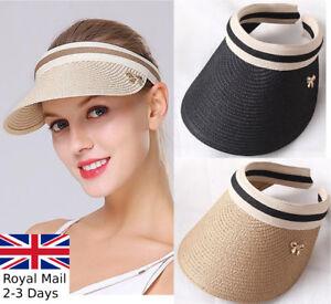 Ladies Women Summer Sun Visor Beach Hat Long Brim Straw Tennis Cap ... 14bc8e9e031