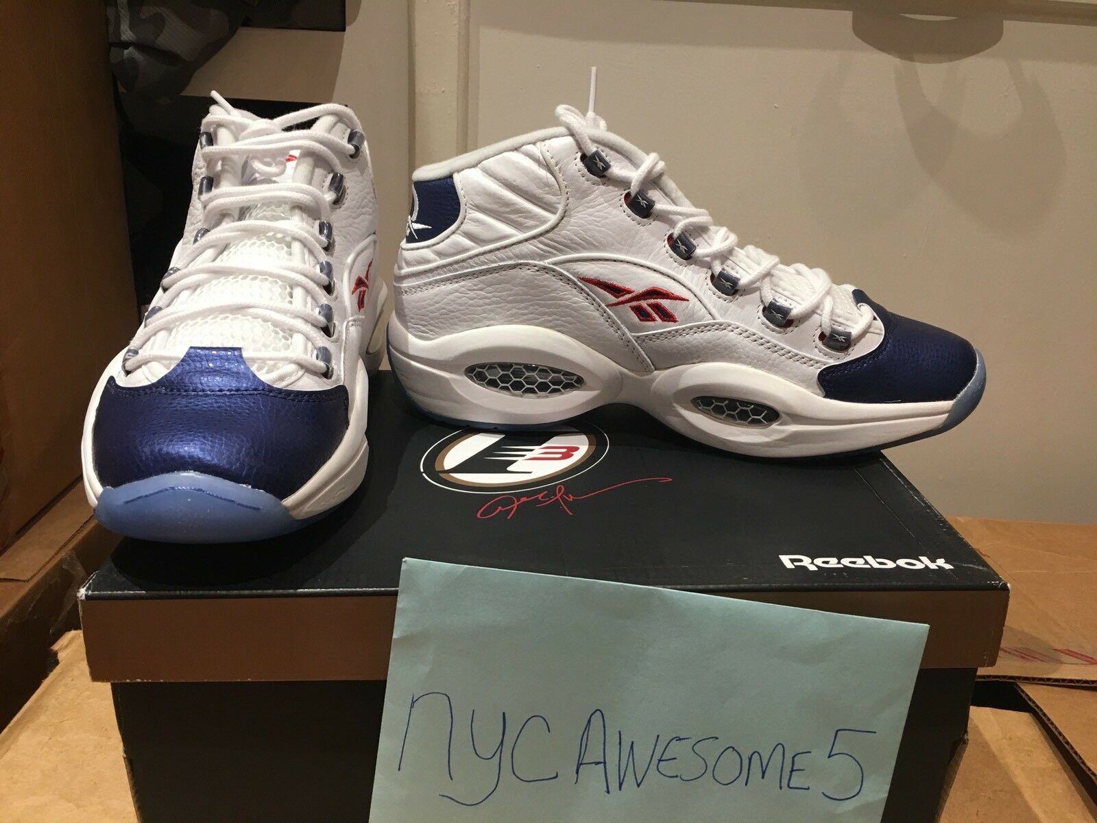 Reebok Question Mid Iverson Basketball Sneaker Men's Athletic Blue Toe BRAND NEW
