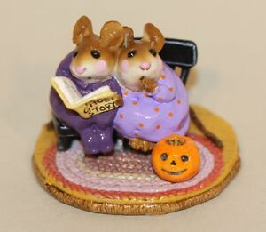 Wee Forest Folk Scarey Stories Purple Gowns M-225 Mice Mouse Pumpkin Halloween