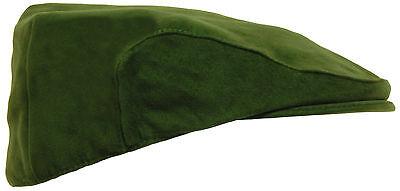 Mens Olive Green Moleskin Flat Cap - Ideal For Walking Hunting Shooting Fishing