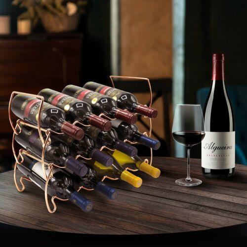 Classic Style Wine Racks for Bottles Hold 12 Bottles 3-Tier Stackable Wine Rack