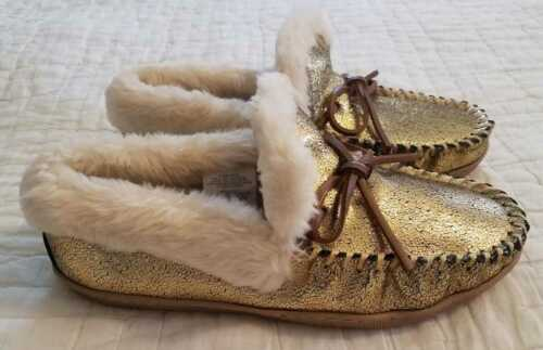 NEW  6 7 8 9 10 11 J CREW GOLD CRACKLED METALLIC SUEDE LODGE MOCCASINS SLIPPERS
