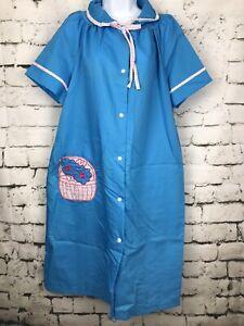 Vintage-NWT-Lindsay-Jordan-Blue-Snap-Front-House-Coat-Robe-Basket-Pocket-Sz-40