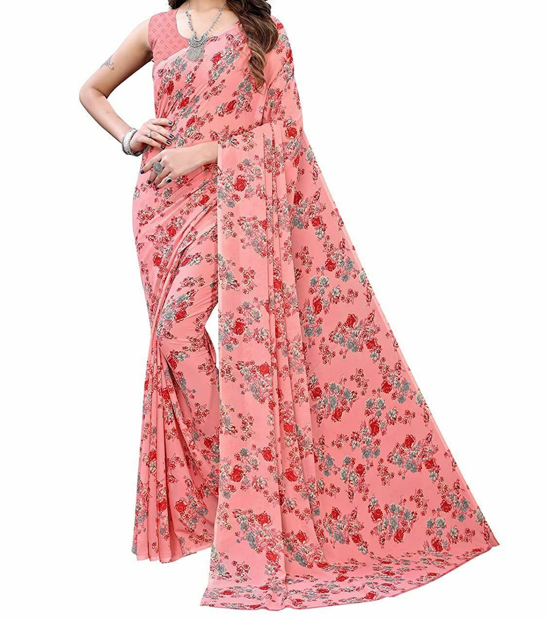 Indian Pink Georgette Floral Printed Saree with Blouse Piece NAS-37