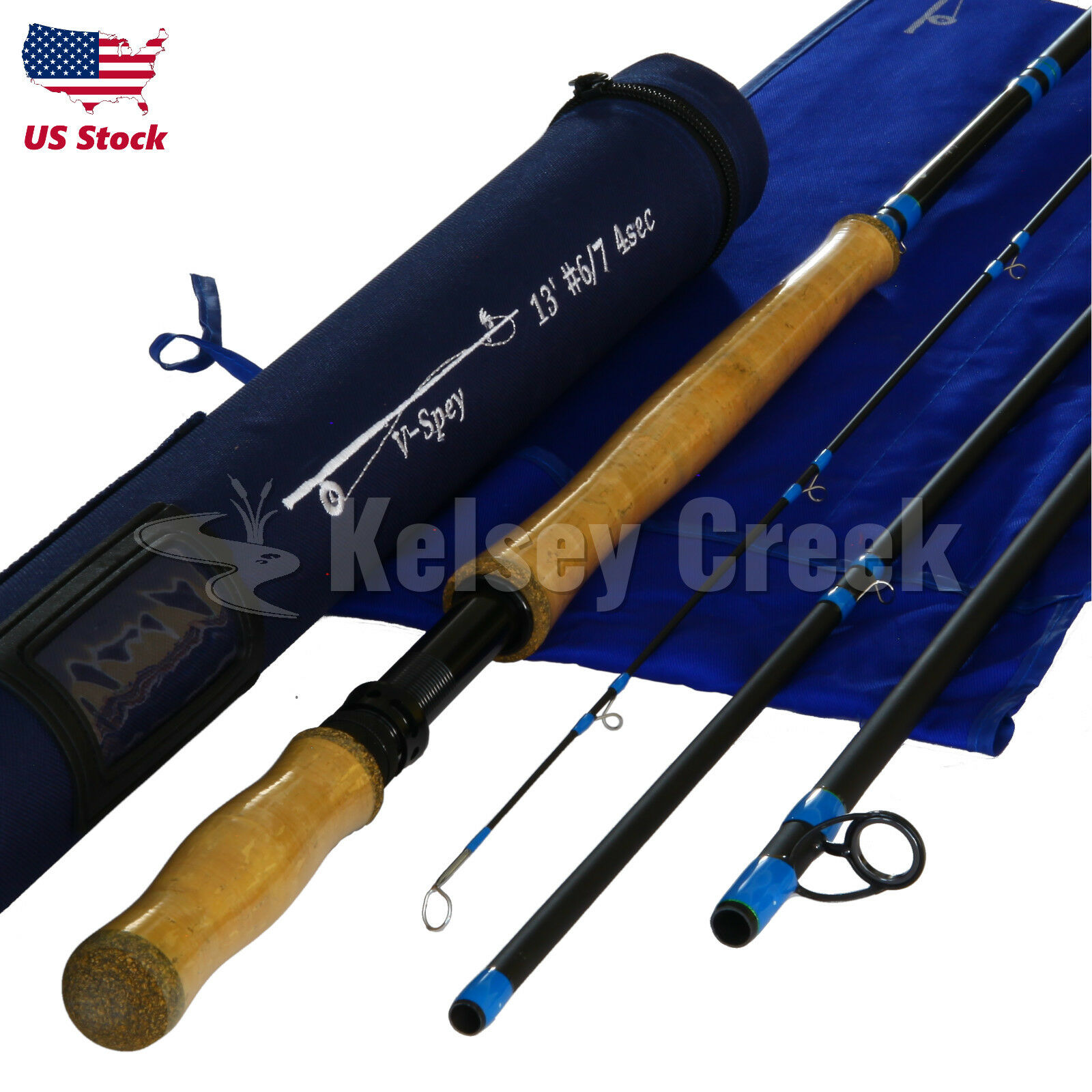 Maxcatch DoubleHanded Spey Rod, IM10 Carbon Fiber, with Rod Tube