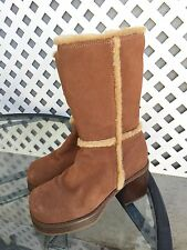 SKECHERS Womens Whiskey Tan Faux Suede Fur Fashion Chunky Retro Goth Boots Sz 7