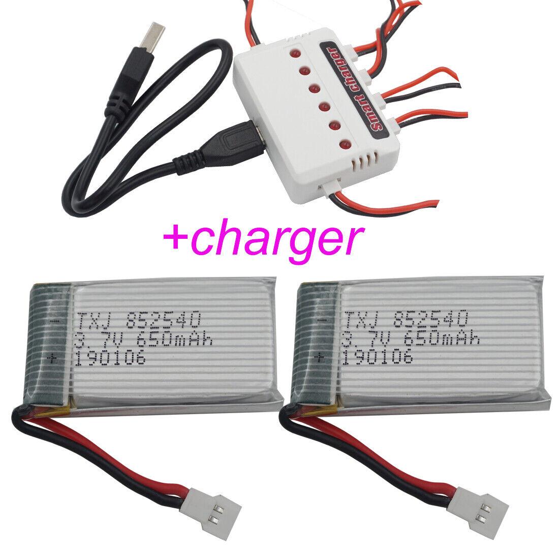 3.7V 650mAh 25C Li-Polymer Li ion battery+charger 852540 for syma Toys RC Drones