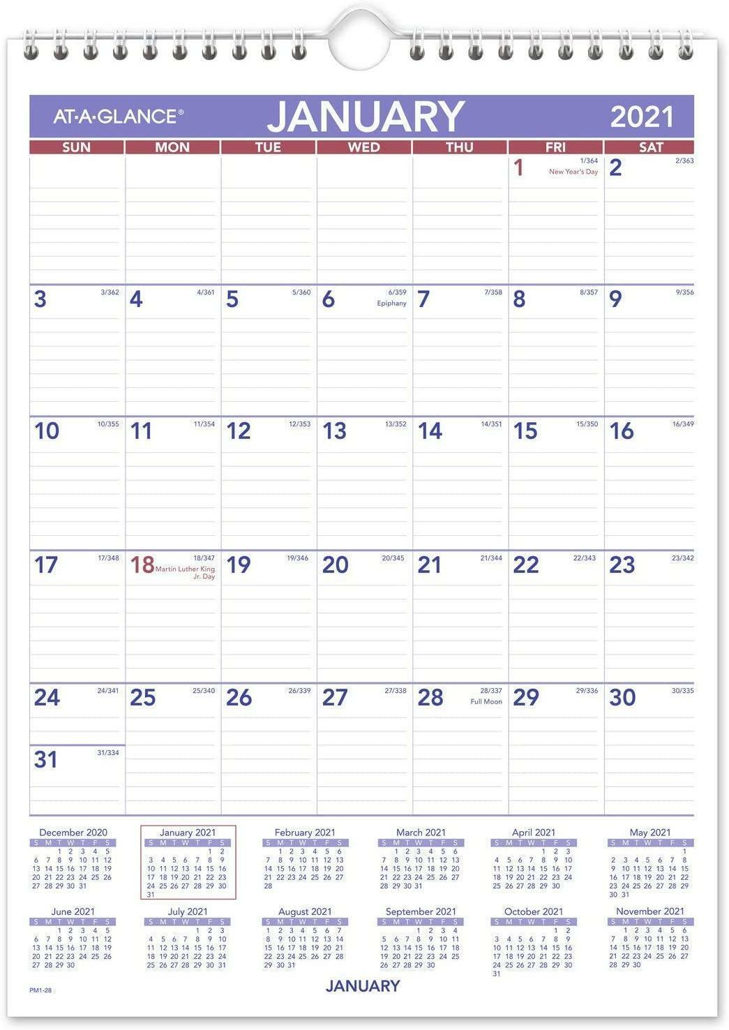 "2021 Wall Calendar 8"" X 11"" Mini Wirebound PM12821 Keep ..."