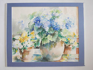 Aquarelle-XXe-fleurs-signee