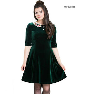 Hell-Bunny-Mini-Skater-Dress-Festive-Christmas-NICOLA-Green-Velvet-All-Sizes