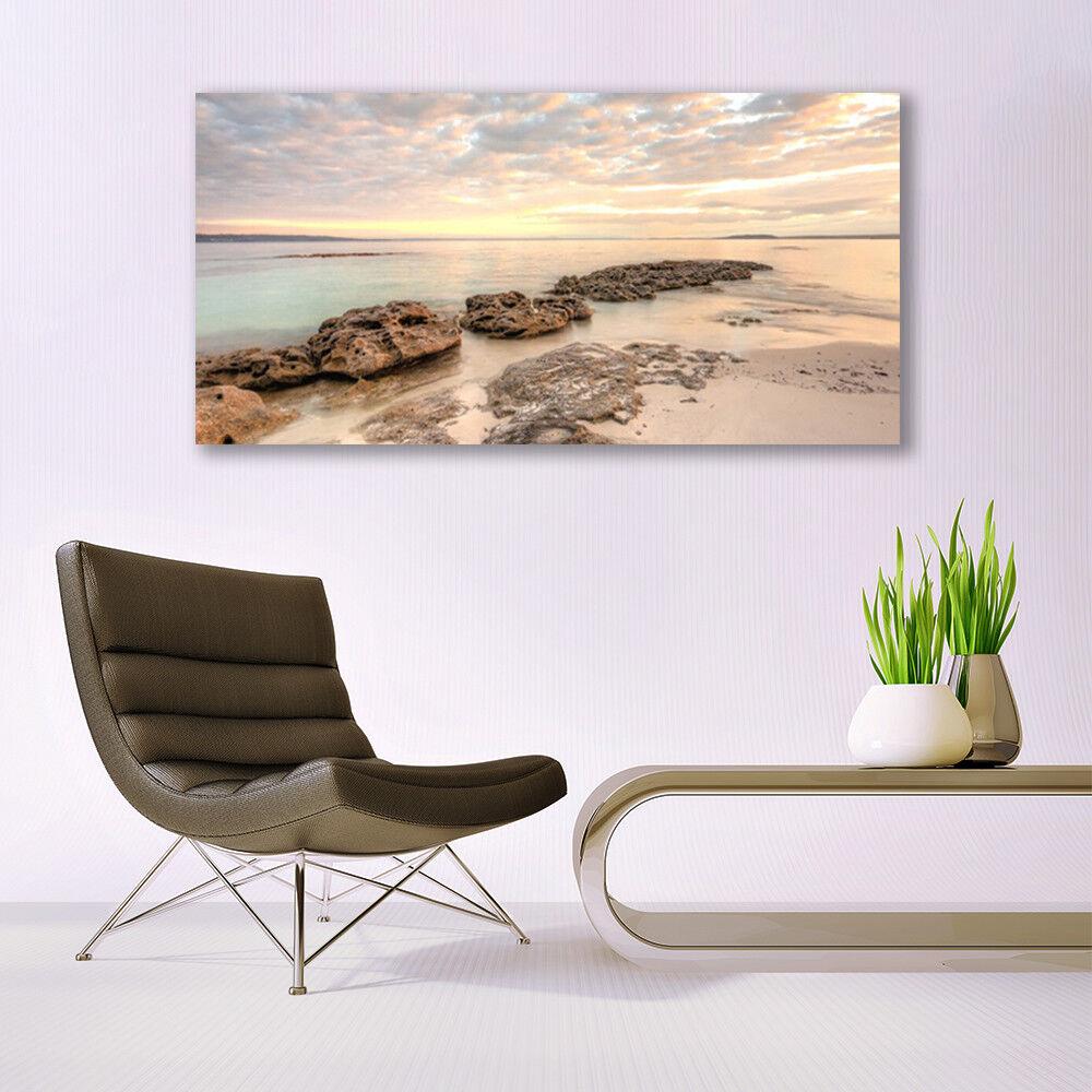 Print on Glass Wall art 140x70 140x70 140x70 Picture Image Sea Stones Landscape 71f9c8
