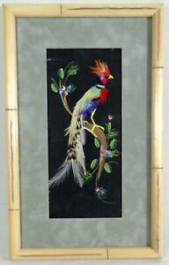 Vtg Feather Bird Picture Recent Bamboo Look Wood Frame Matting 10x16 Folk Art Moderate Cost Decorative Arts