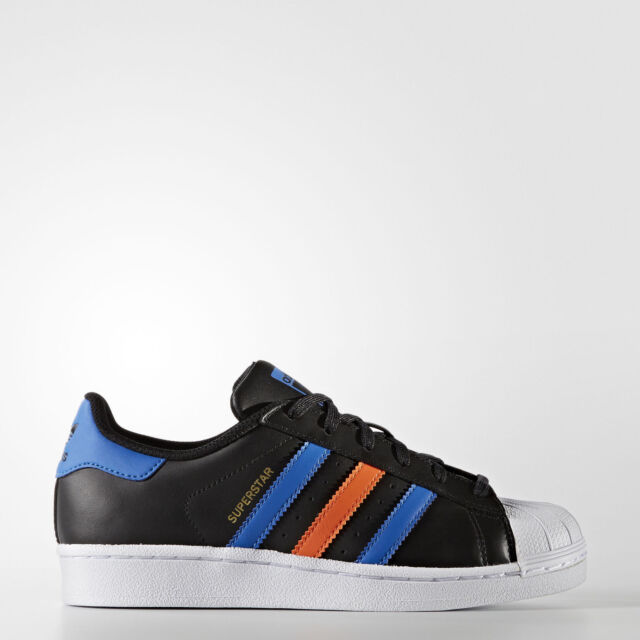 0e20d88b15dd Adidas Originals Superstar J Juniors Youth Kids Black   Blue BB0353 SIZE US  7
