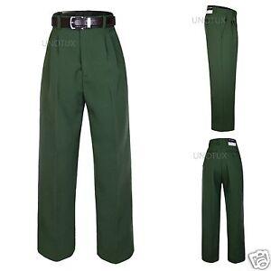 Boy Kid Teen Formal School Uniform Pants Olive Dark Green belt for ...