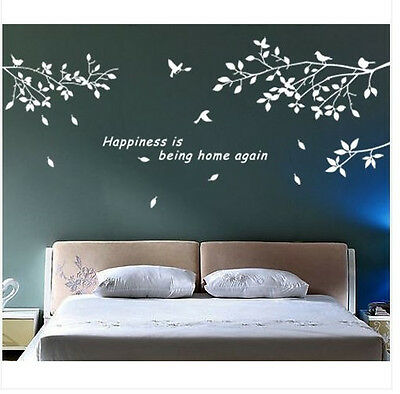 Wall Decor Art Vinyl DIY Removable Decal Sticker Trees Branches Birds White