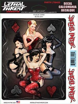 4 SEXY ACES Blonde Brunette GIRLS in Lingerie VINYL STICKER/DECAL Lethal Threat