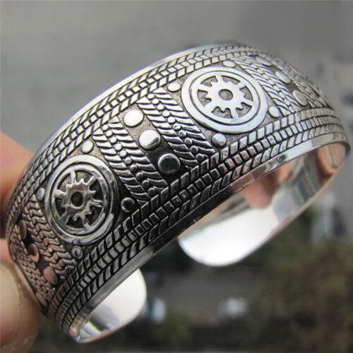 Antikes Tibetanisches versilberte Tibet Totem Armreif Breite Armband Frauen ML