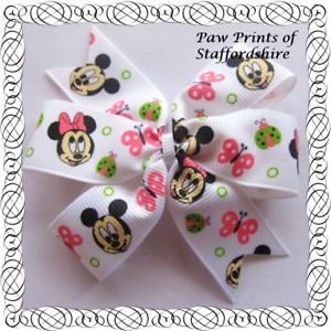 Mickey /& Minnie Mouse printemps hair bows-BOW clips ou Bobble-Rose /& Vert