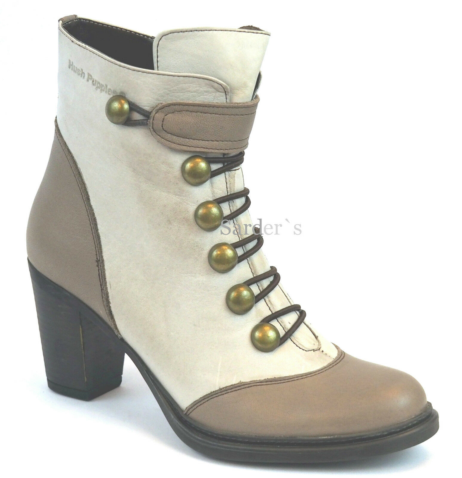 Hush Puppies botín 41 cuero cuero cuero botas plataforma Taupe marrón heels zapato de mujer nuevo  tienda hace compras y ventas