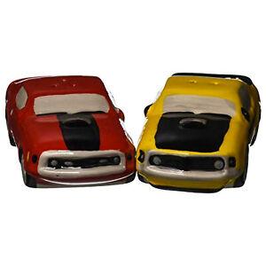 Ford-Mustang-Salt-and-Pepper-Shaker-Set-Car-Ceramic-Kitchen-Mach1-Boss-302-Red