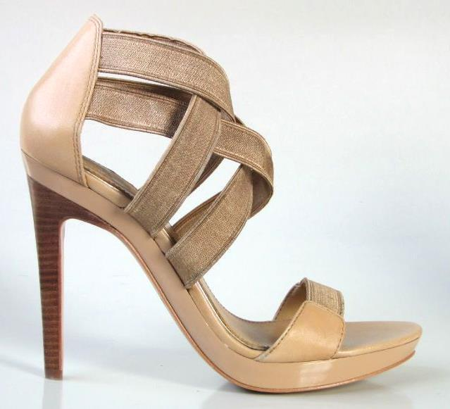 New MARK & JAMES by BADGLEY MISCHKA stretch straps shoes heels 8.5 - sexy tan