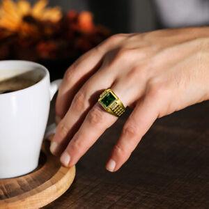 Mens-Real-Solid-14K-Gold-Green-Emerald-Ring-4-Natural-Diamonds-Huge-Ring-for-Men
