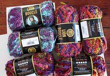 6 Skeins Lot Lion Brand Boucle Yarn Gelato, Snow Cone, Tutti Fruitti