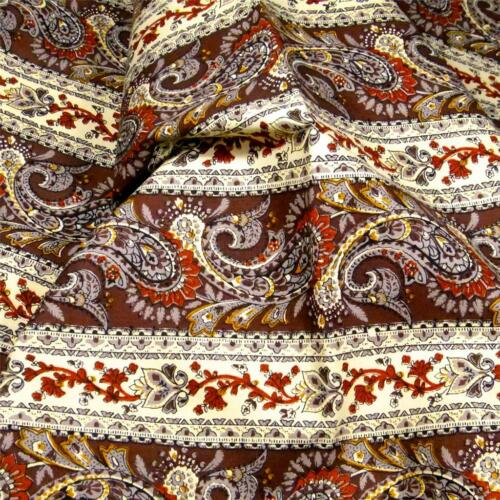 """Brown Paisley Stripe,46/"""" W BTY Sturdy Cotton Home Decor Fabric by House /& Home"""