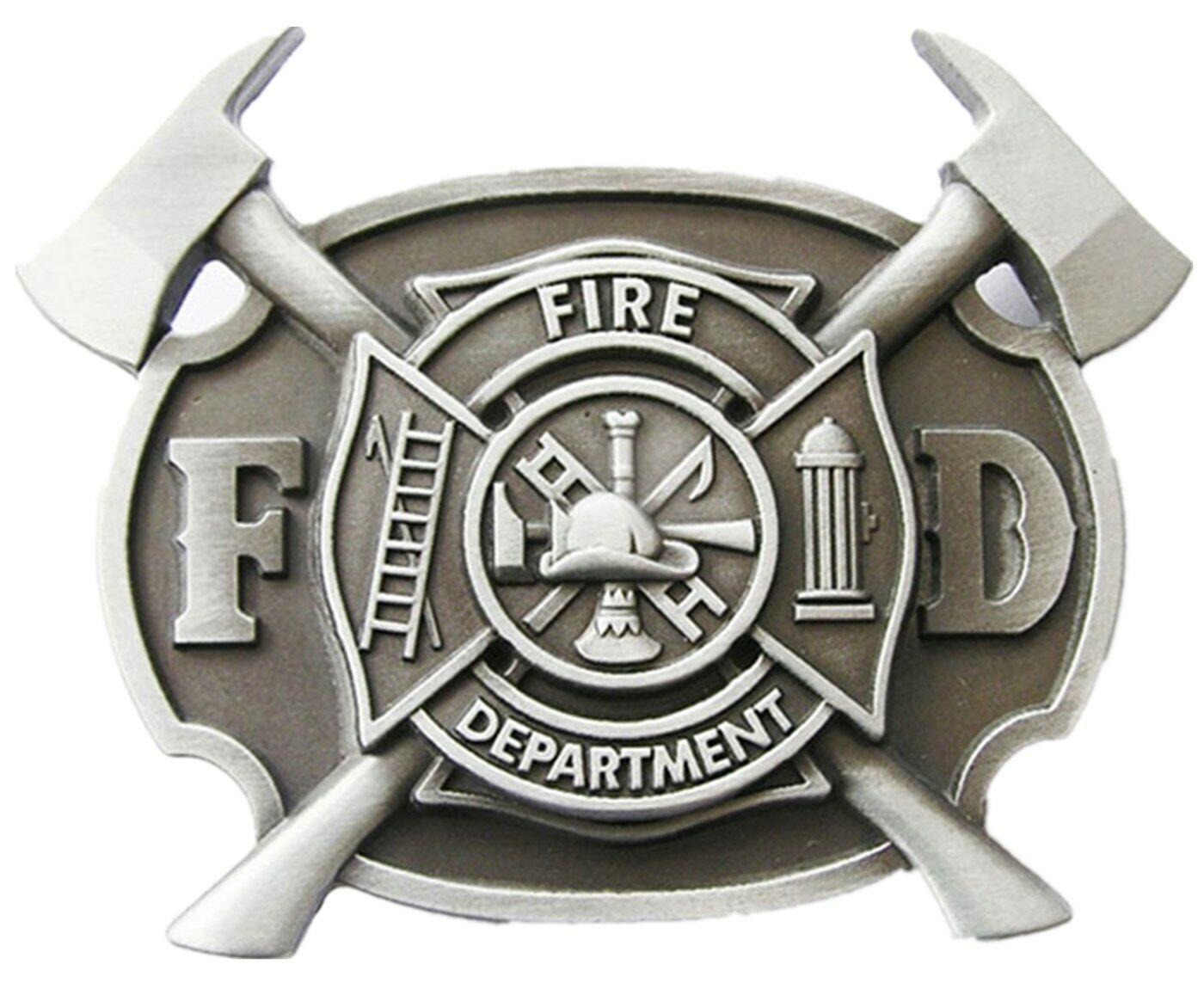 Fire Department V Gürtelschnalle Feuerwehr Feuerwehrmann Feuerwehrhaus Brigade