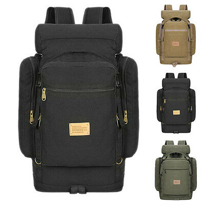 Stylish Men Outdoor Hiking Bag Canvas Backpack Large Capacity Shoulder Rucksack