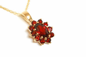 9ct-Gold-Garnet-Cluster-Pendant-and-18-034-Chain-UK-Made-Gift-Boxed-Necklace