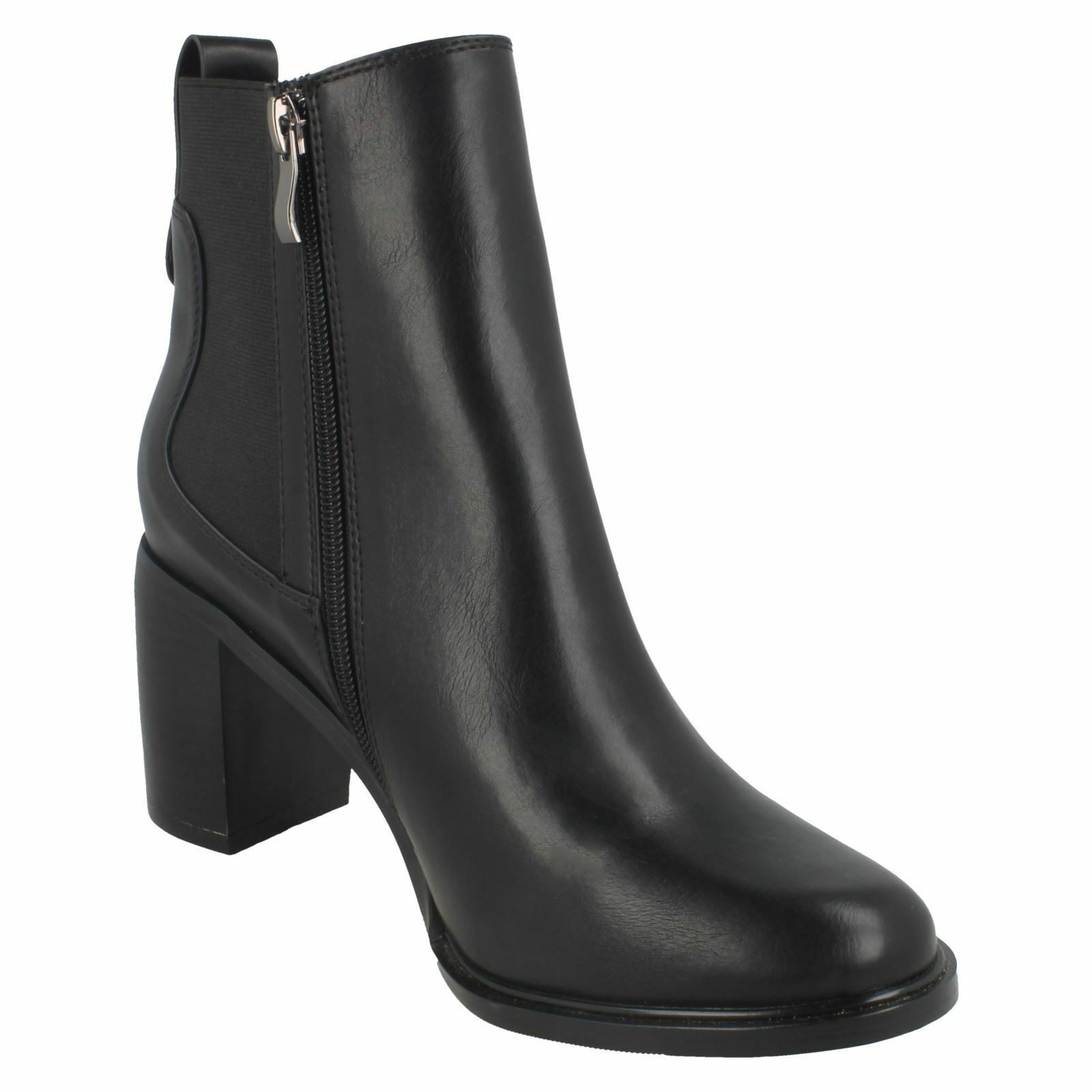 SPOT ZIP ON F5R0959 LADIES CASUAL WINTER ANKLE Stiefel ZIP SPOT UP CHELSEA BLOCK HEELED 346d98