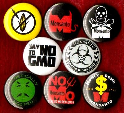 ANTI MONSANTO 8 NEW 1 inch pins button badge NO TO GMO non against stop boycott